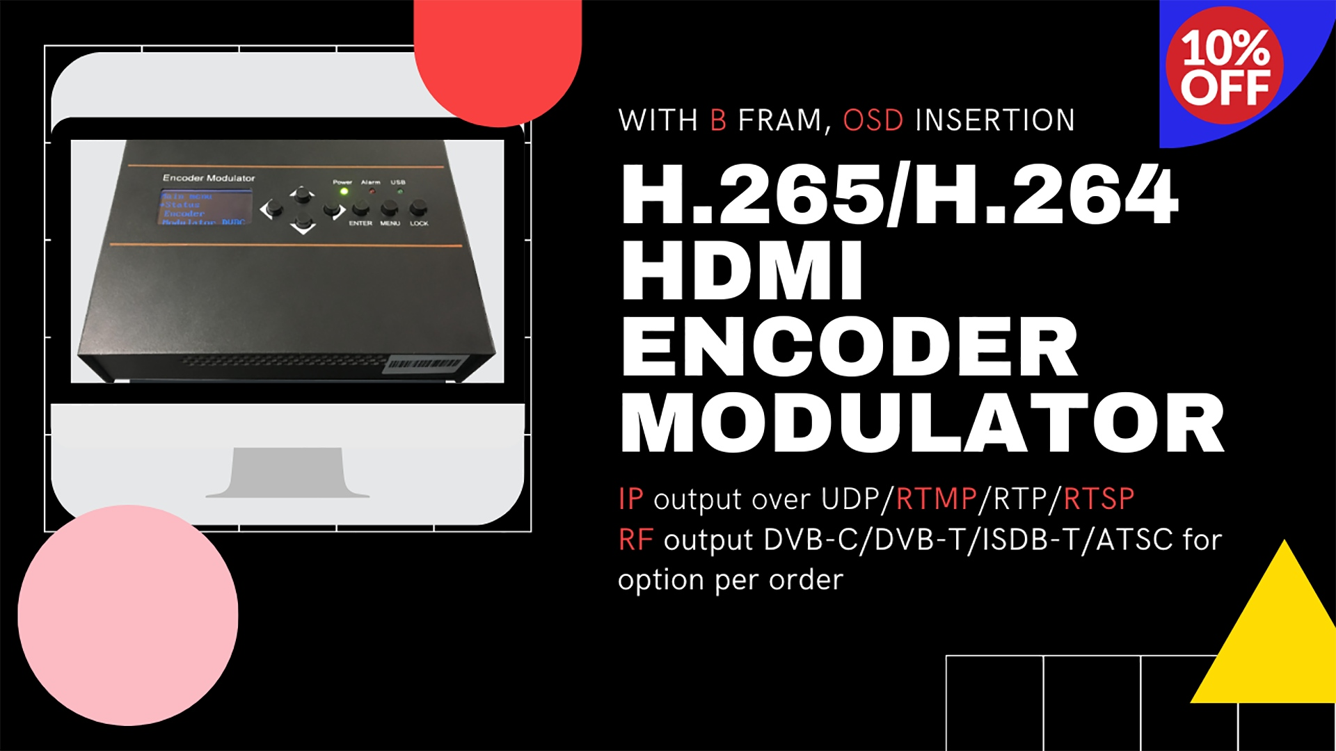 OTV-DW56 Mini Single-Channel H.265 H.264 HEVC HD Encoder Modulator